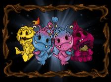Creepy funny monsters