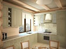 кухня-столовая в бревенчатом доме.
