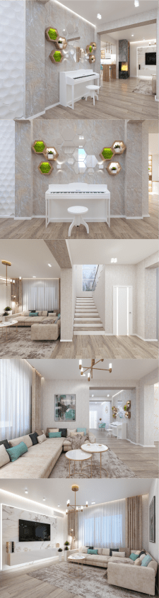 Дизайн частного дома. Гостиная