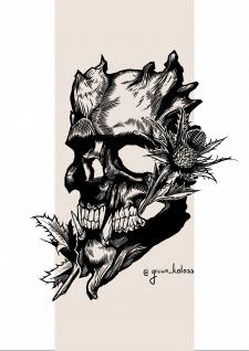 Дизайн эскиза татуировки ( Маска с Чертополохом)