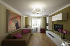 Оливковая гостиная с акцентами цвета фуксии
