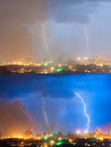 Молния над заводом (цветокорекция)