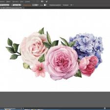 Отрисовка  цветов в векторе для свадебного банера