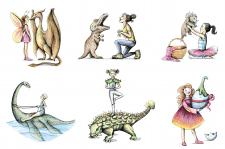 Серия рисунков с динозаврами