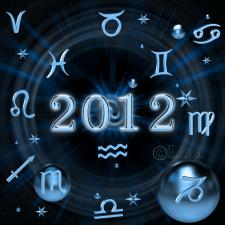 Знаки зодиака на фоне цифр 2012