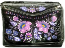 Декоративная роспись на кожаной сумке
