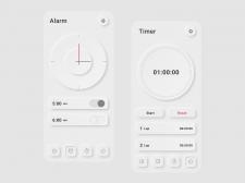 Приложение Clock в стиле неоморфизм
