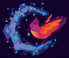 Птица и рассыпающаяся луна в векторе