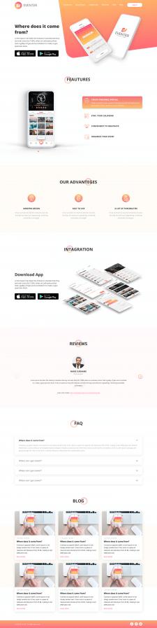 Landing page для презентации приложения