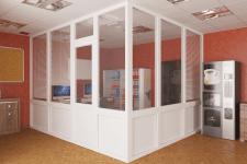 Визуализация пластикового ограждения в офисе.