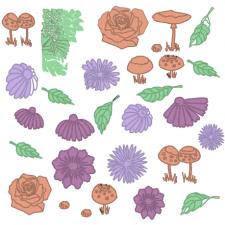 сет с осенними цветами, грибами, листьями