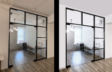 Обработка фотографии  стеклянных дверей