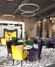 Дизайн проект ресторана,3д модел-ние и виз-ция.