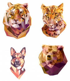 сет полигональные авторские портреты животных