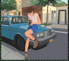 Girl near car