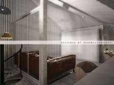 Дизайн интерьера: мансарда/ рабочее место- офис, место отдыха