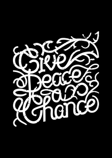 "Lettering ""Give peace a chance"""