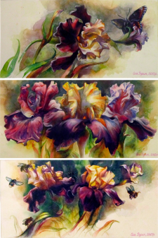 Iris flowers, watercolor