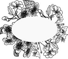 цветы нарисованные черным цветом на белом фоне 2