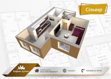 3d визуализация простого плана квартиры №2