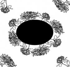 хризантема черным контуром с черным овалом