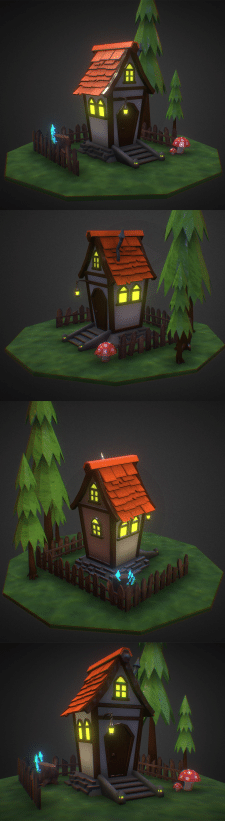 "Game lokation ""House in the forest"" (low poly)"