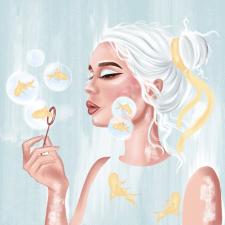 Принт, девушка с рыбками