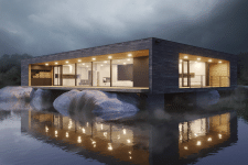 house in the middle of a lake, in a fog