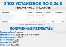 2 102 установок по 0,24$ / Установка приложения