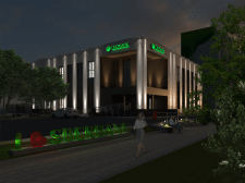 Визуализация здания Сбербанка (ночное время)