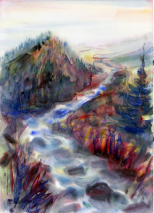 Иллюстрация акварелью пейзаж