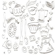 Hand draw set teatime