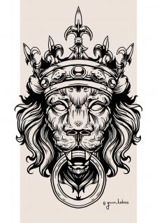 Дизайн эскиза татуировки ( Барельеф льва)