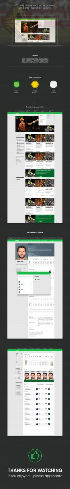 Дизайн нескольких страниц для сайта о крикете