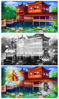 Китайский фон с персонажами