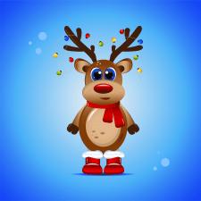 Векторная иллюстрация новогоднего оленя