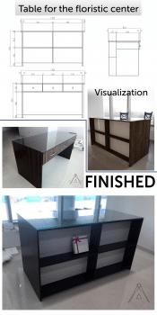 Дизайн стола для флористического центра