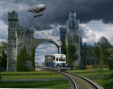 Автобус на рельсах в стиле стимпанк
