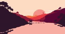 Пейзаж озера, гор в плоском стиле