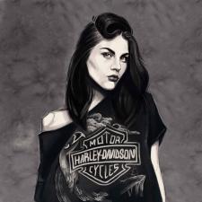 Frances Cobain's portrait in Procreate