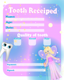 Грамота зубной феи за зубик.