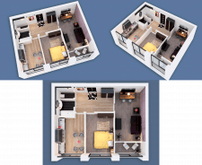 3D visualization of a two-room apartment NEW-1