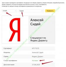 Сертификат специалиста по Яндекс.Директу (до 21.06