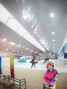 Крытый сноуборд парк.