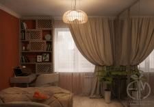 Дизайн спальни в двухкомнатной квартире в Киеве