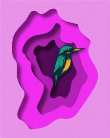 Птица в слоях