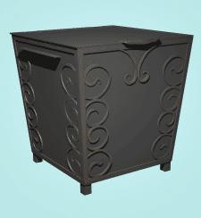 Дизайн мусорного бака с элементами ковки)