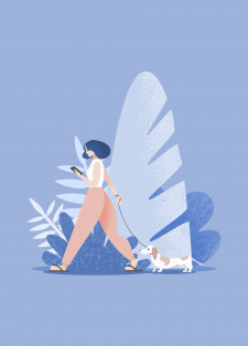 Иллюстрация девушки с собачкой