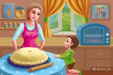 Заворожено дивлюся, Як пече пиріг матуся