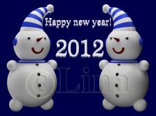 Снеговики и надпись с новым годом